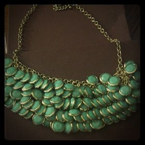 Mint Green Gold Statement Necklace Adjustable